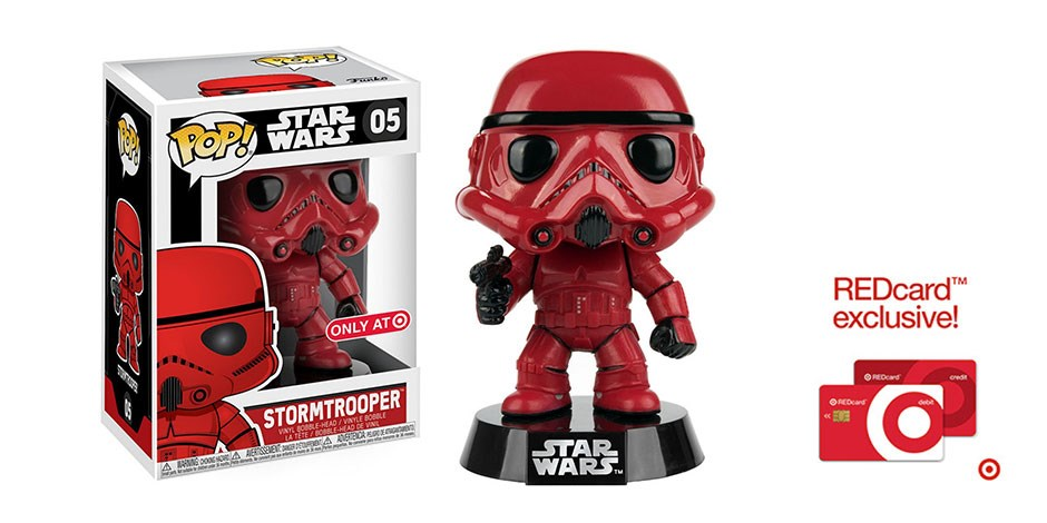 The Funko Pop! Red Classic Stormtrooper in its box, the figure, and the Target REDcard logo