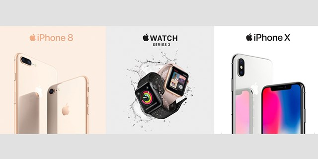 Three images showing the new Apple iPhone 8, Apple Watch and iPhone X
