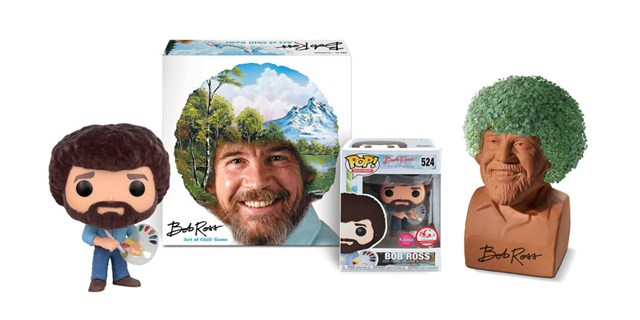 A variety of Bob Ross product, including Funko figures, a board game and Chia Pet