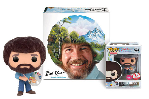A Bob Ross Funko, shown in and out of the packaging, along with Bob Ross: The Art of Chill board game