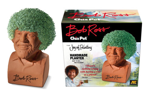 Bob Ross Chia Pet shown in and out of the packaging