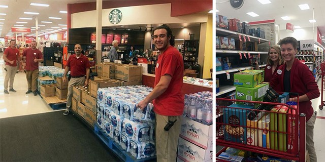 Team members stock their store in preparation for Hurricane Irma