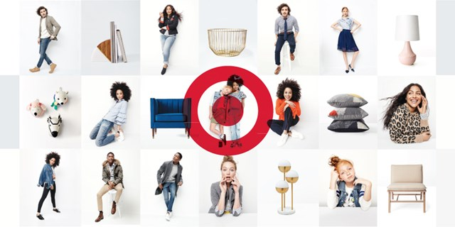 A grid of photos featuring the new brands, with a red Bullseye overlaid in the center