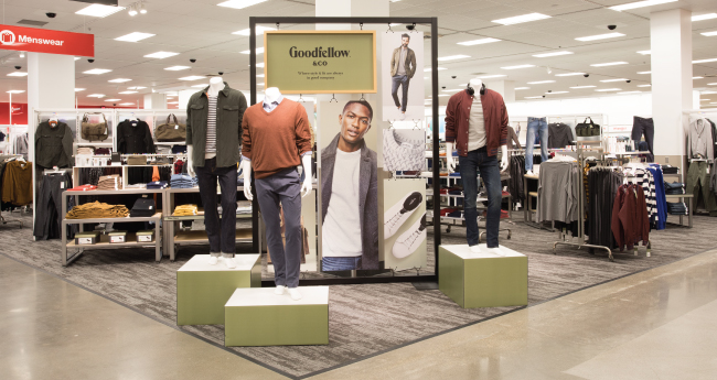 A Goodfellow & Co display inside a Target store