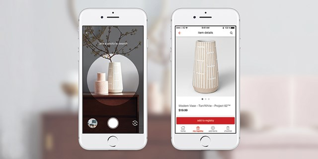 Two white iPhones show an inspiration pic and a matching vase within Target Registry