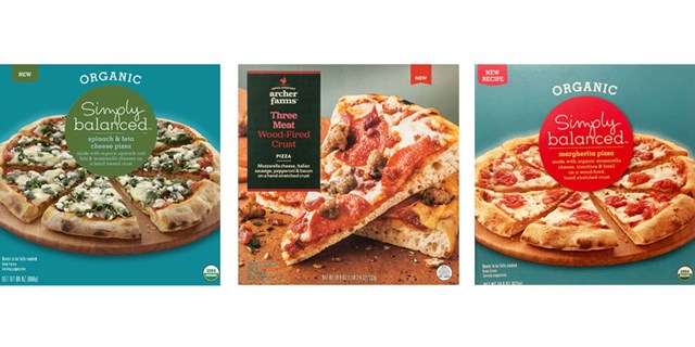 Three pizza boxes, including two Simply Balanced and one Archer Farms