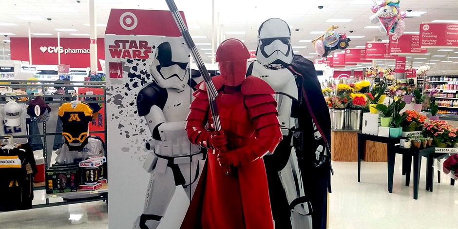 0bde6fdcf65e Star Wars characters on a display board at the front of a Target store