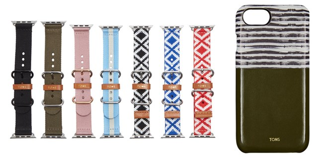 Seven TOMS bands for Apple Watch in a variety of colors and a TOMS for iPhone case