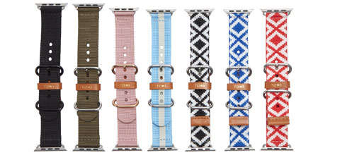 Seven TOMS for Apple Watch bands in a variety of colors