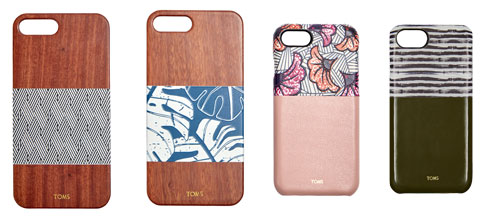 Four TOMS for iPhone cases in a variety of colors/patterns