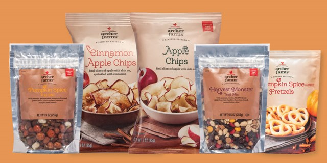 Five bags of Archer Farms pumpkin spice and apple snack products