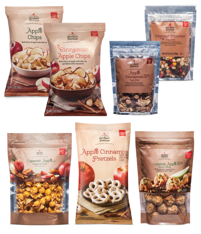 Seven bags of Archer Farms apple snack products