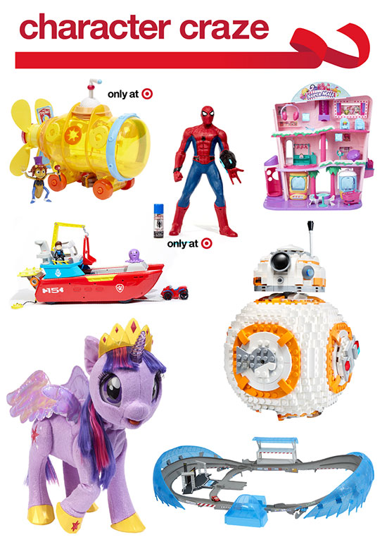 Seven licensed toys and figures