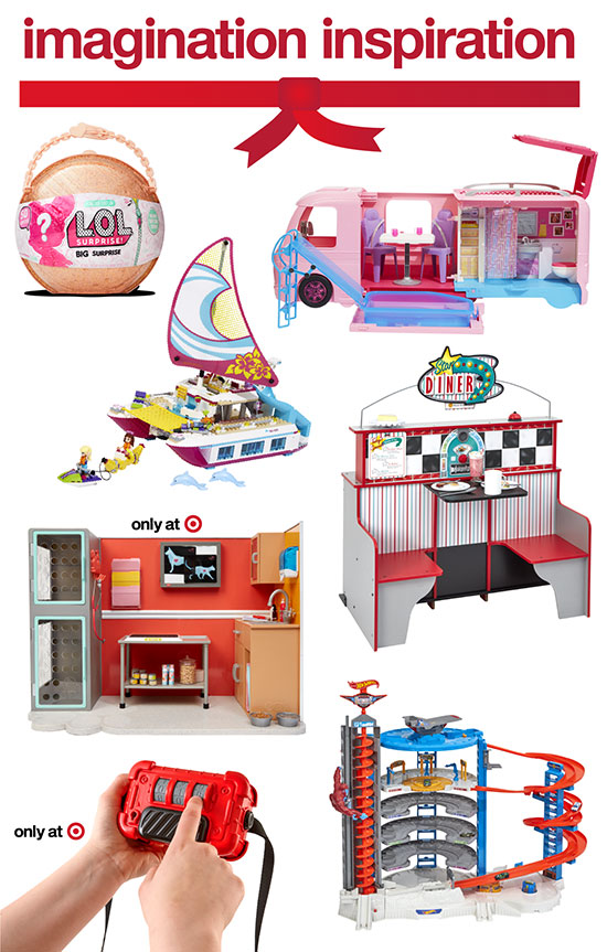 Seven imagination-themed toys