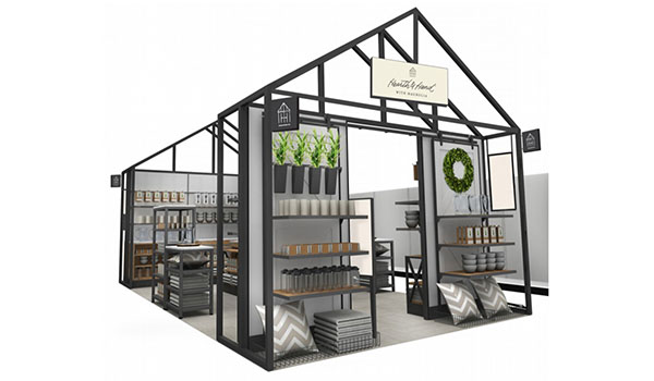 A rendering of the house display with products featured inside