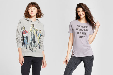 Two women wearing a Stranger Things sweatshirt and t-shirt