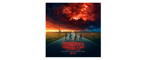 Cover of the Stranger Things CD, featuring kids on bikes looking at a red, cloud-filled sky