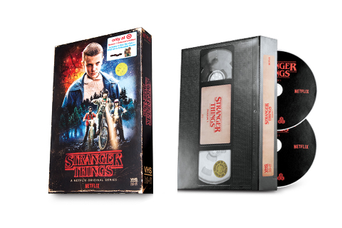 VHS-inspired packaging for the Stranger Things Blu Ray/DVD set