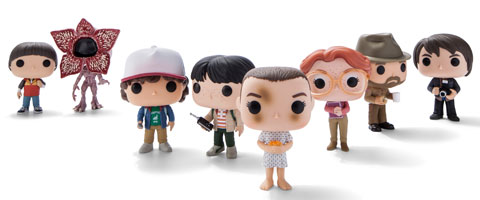 Eight Stranger Things Funko characters