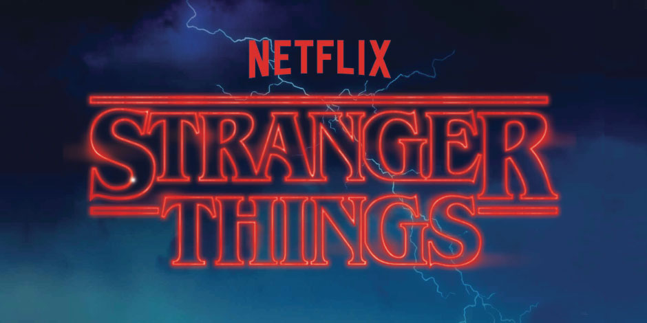 A red neon Netflix Stranger Things logo against a stormy sky background
