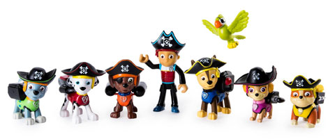 Eight Paw Patrol figures in a line