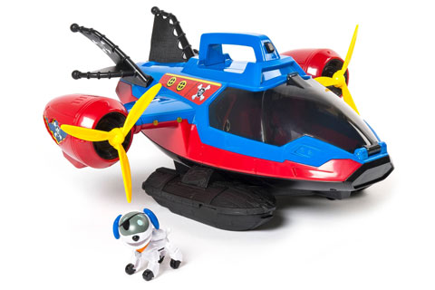 A blue and red helicopter with a dog figure