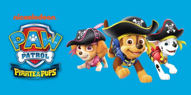 The Paw Patrol logo alongside three dogs wearing pirate hats