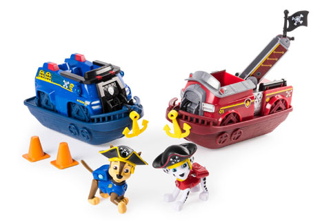 Blue and red vehicles with two dog figures