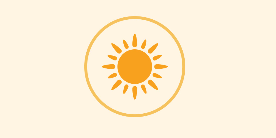 A yellow sun icon with a yellow circle around it on a white background with gray border