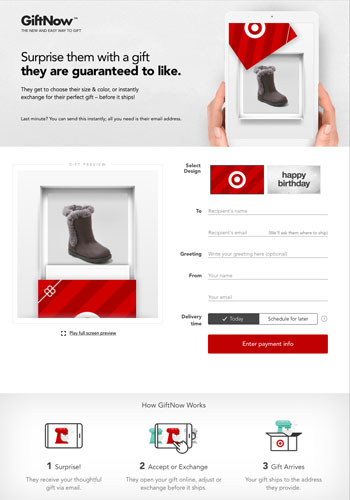 Preview of the GiftNow experience, using a grey winter boot as the example