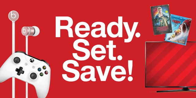"""Ready. Set. Save"" white text against a red background, surrounded by a few Black Friday deals."