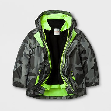 A grey jacket with neon green lining
