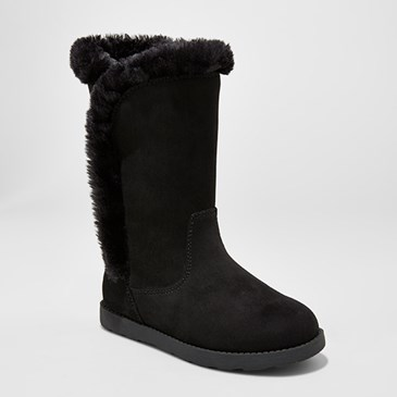 Black tall boots with faux fur lining
