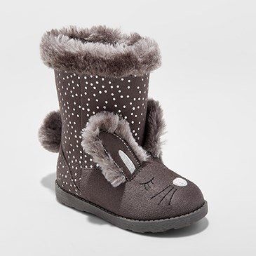 Grey boots with bunny ears and face and faux fur lining