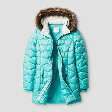 Aqua puffer jacket with brown faux fur lining on the hood