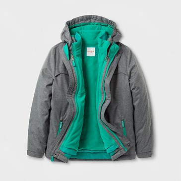A grey jacket with green lining