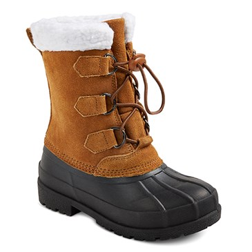 Brown boots with black soles and sherpa lining