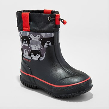 Black and red rain boots with teddy bear print