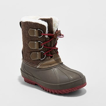 Brown boots with flannel accents and sherpa lining