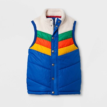 A puffer vest with blue, yellow, orange, green and white blocks