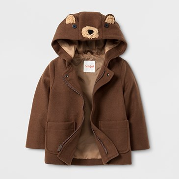 A brown jacket with bear face and ears on the hood