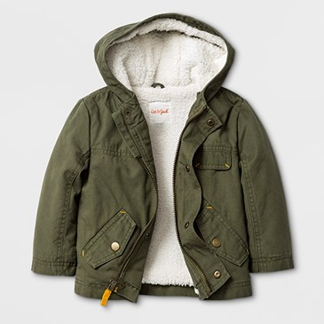 A green coat with cream lining and hood