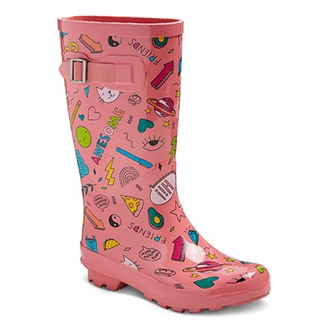 Pink rubber boots with colorful print