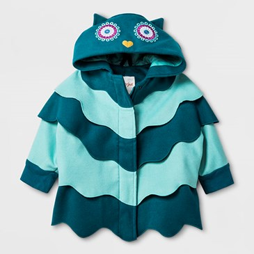 Teal and aqua jacket with owl hood