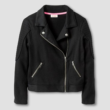 Black motorcycle jacket with silver detail