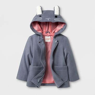 Grey jacket with pink lining and bunny ears on the hood