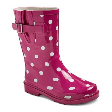 Pink and white polka dot boots