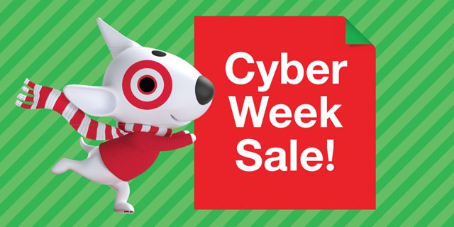 Bullseye the dog holding a sign that says Cyber Week sale!