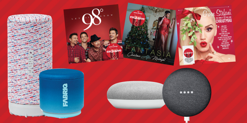 A variety of voice-enabled speakers and holiday CDs against a red striped background
