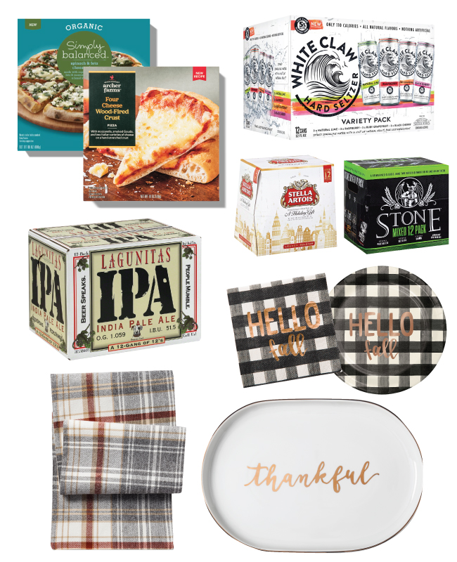 A collage including pizza, craft beer, paperware and serveware